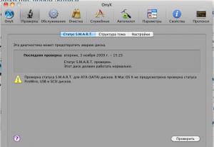 """Вкладка """"Проверка"""" окна OnyX"""