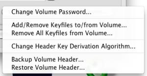 Меню настроек зашифрованного диска