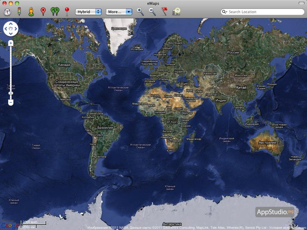 Карта Мира Спутник