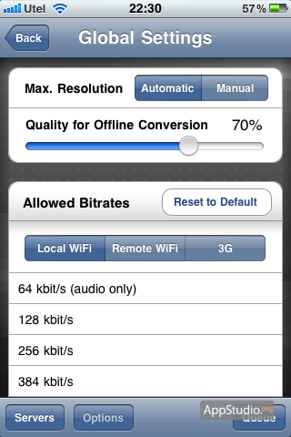 Air Video global settings