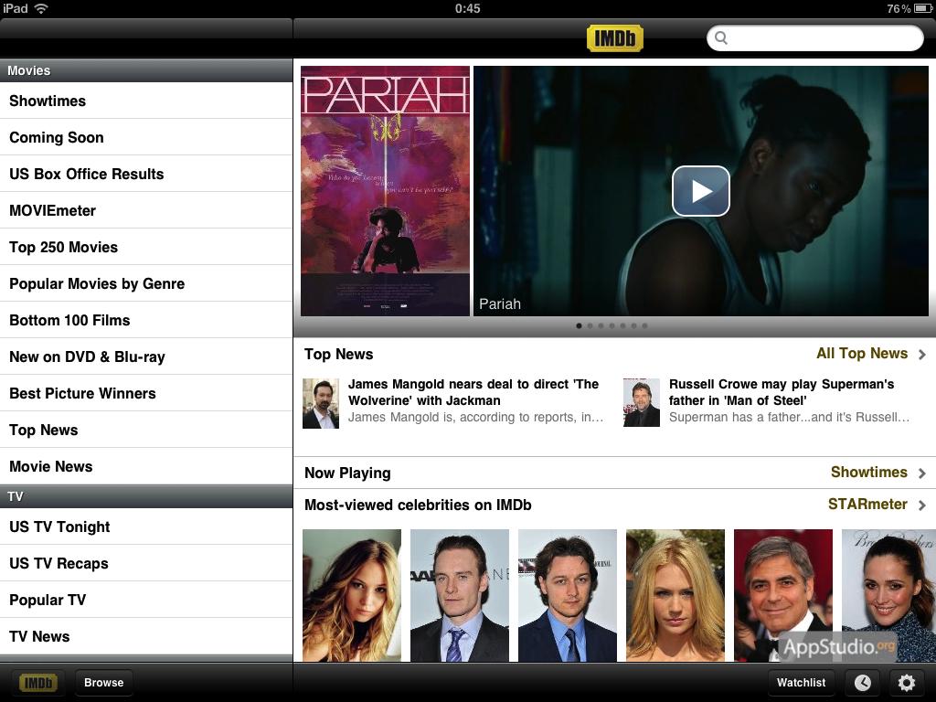 IMDb: Main screen