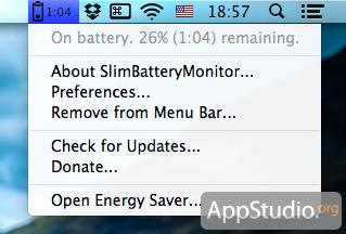 Время работы от батареи в Mountain Lion