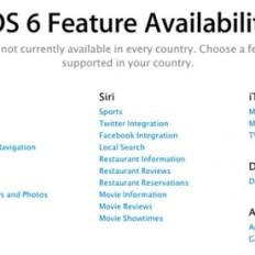 Список доступных в iOS 6 функций по странам