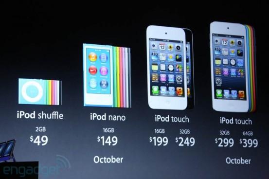 Цены на новые iPod