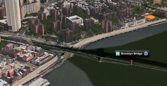 Бруклинский мост на картах Apple в iOS 6