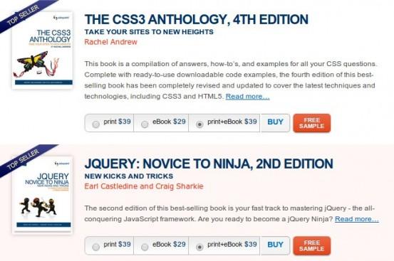 Электронные версии учебников по CSS и JQuery от SitePoint