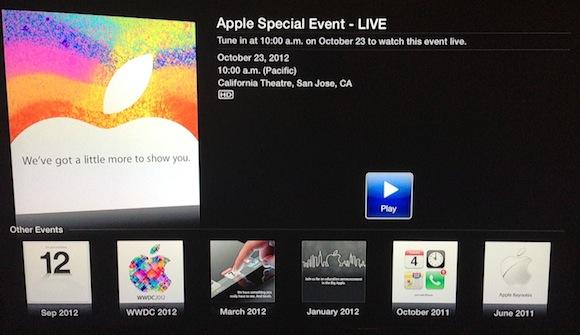 Краткая информация о презентации iPad mini в меню Apple TV