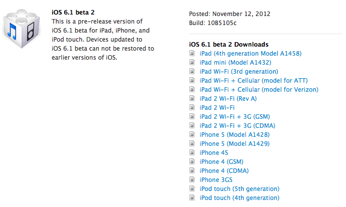 iOS 6.1 beta 2