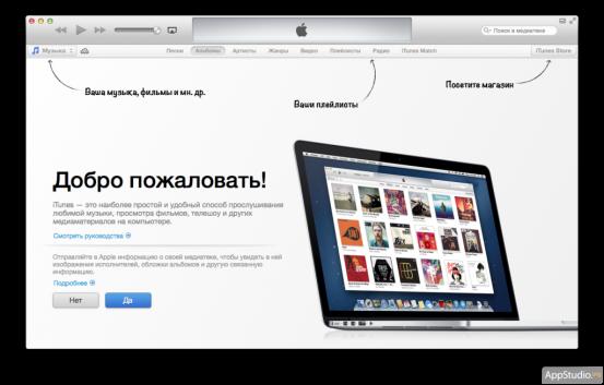 Стартовый мастер iTunes 11