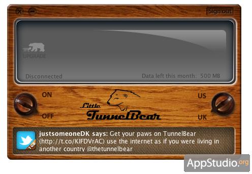 Основной экран Tunnelbear