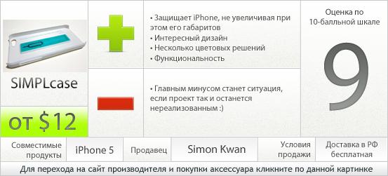 Характеристики SIMPLcase для iPhone