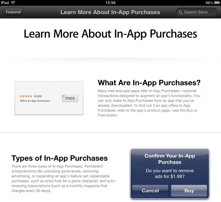 Секция с описанием механизма In-App Purchase