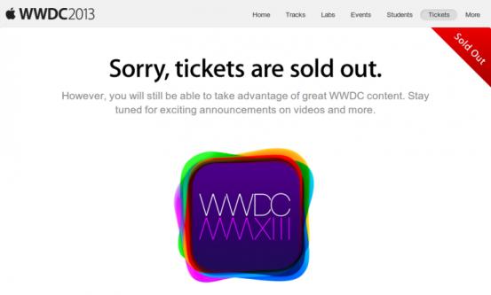 Билеты на WWDC 2013 разошлись за 2 минуты!