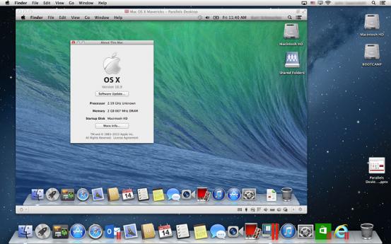 Виртуальная машина с работающей OS X Mavericks