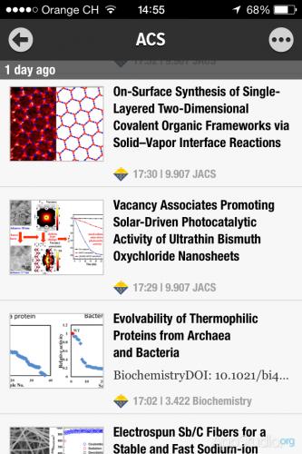 Табличный вид отображения новостей Newsify