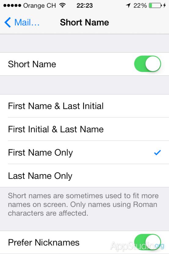 Опция сокращения имени контакта при входящем вызове