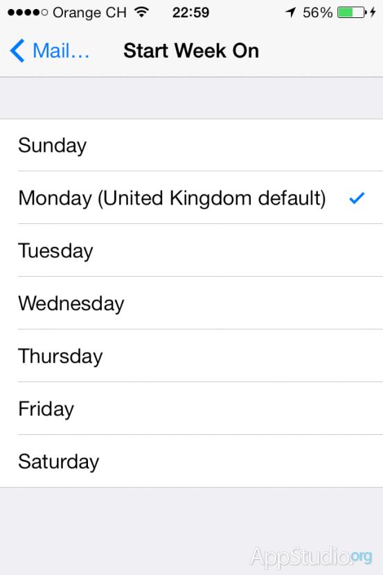 Возможность установки первого дня недели в приложении Календарь