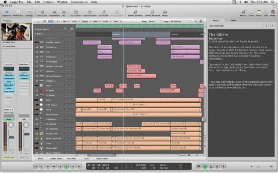 Интерфейс Logic Studio 9 - таким мы его привыкли видеть. Полностью в стиле интерфейса Mac OS 10.6 Snow Leopard. На момент выпуска по некоторым особенностям он опережал все конкурирующие продукты от других разработчиков на года впреред.