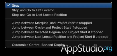 Настройки кнопки Stop