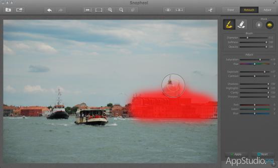 Snapheal Ретушь отдельных частей изображения