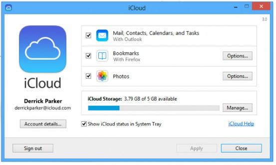 Панель управления iCloud 3.0