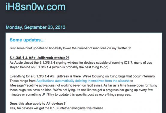 О том, как поживает джейлбрейк iOS 6.1.3 и 6.1.4 - Проект AppStudio