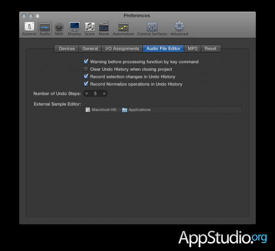 Настройки Audio File Editor