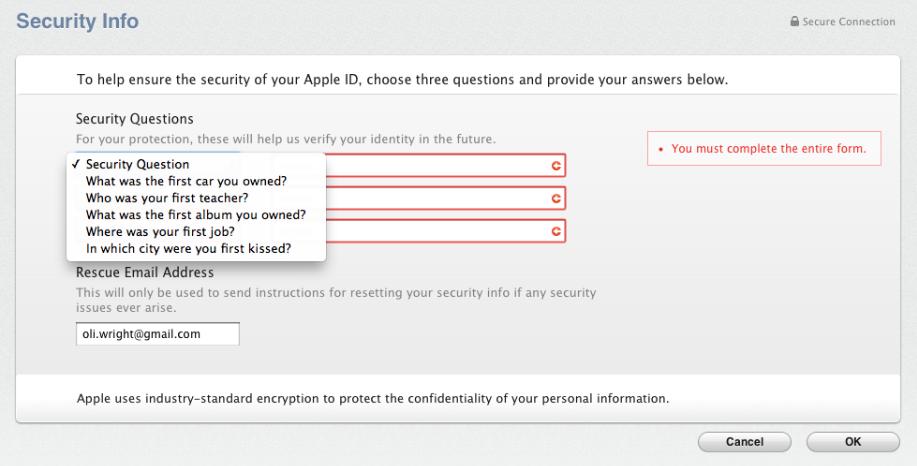 faq Что делать если вы забыли ответы на секретные вопросы к   faq Что делать если вы забыли ответы на секретные вопросы к apple id
