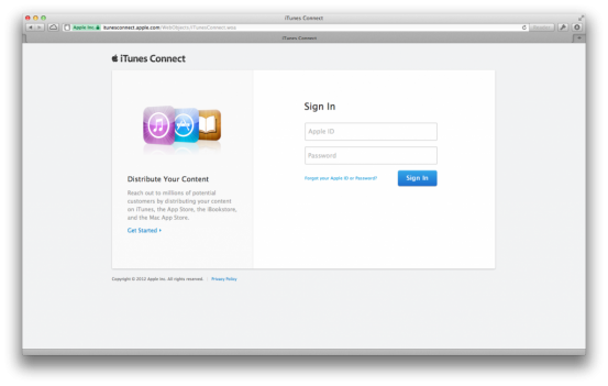 Сбой iTunes Connect