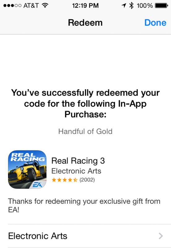 Промокод In-App Purchase для Real Racing 3