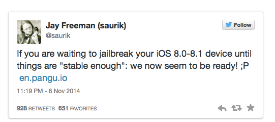 "2014-11-07 21-17-09 Pangu jailbreak for iOS 8.0-8.1 now ""stable enough"" for use, says Cydia creator 