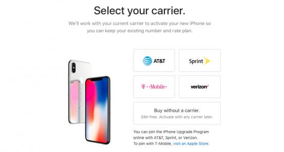 В США начали продавать iPhone X без привязки к оператору
